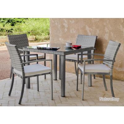 hevea set de jardin table manger et fauteuils en acier 4 places avec coussins set rimini. Black Bedroom Furniture Sets. Home Design Ideas