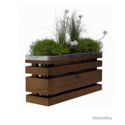 jardipolys bac fleurs pour balcon en bois acier 10l. Black Bedroom Furniture Sets. Home Design Ideas