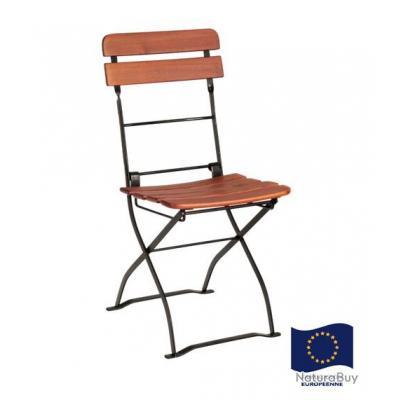 habrita 2 chaises pliable cafe en acacia hauteur 86cm sj ch86 - Chaises Pliables