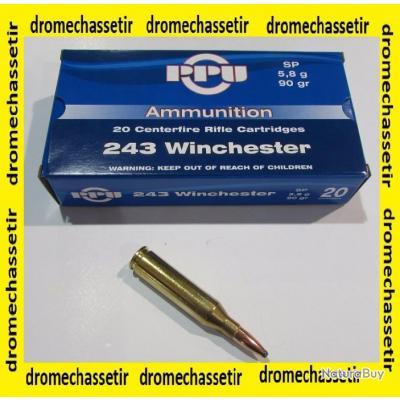 5 boites neuve de 20 cartouches Partizan  de calibre 243 Winchester, 90 grains , SP