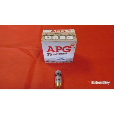 Cartouches calibre 12 APG, boite de 25 cartouches,plomb N°10