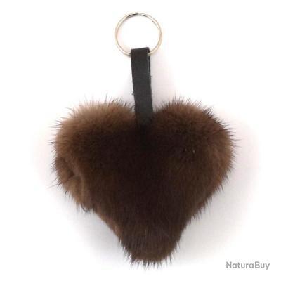 Porte-clés coeur en Vison - Marron