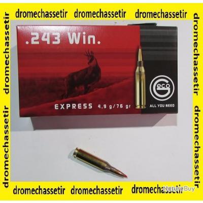 1 boite neuve de 20 cartouches  de calibre 243 Winchester GECO Express pointe plastique 76grs
