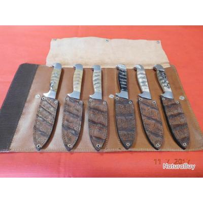 6 couteaux de table , corne et étui en cuir, fabrication Artisanale Espagnole, idée cadeaux,