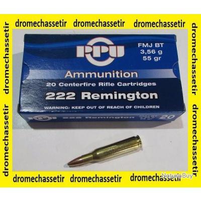 10 boites neuve de 20 cartouches Partizan  de calibre 222 Remington, 55 grains , FMJ BT