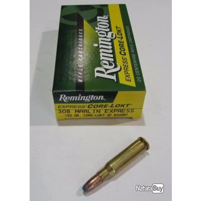 1 boite neuve de 20 cartouches  de calibre 308 Marlin Express , Remington CORE LOKT 150grs