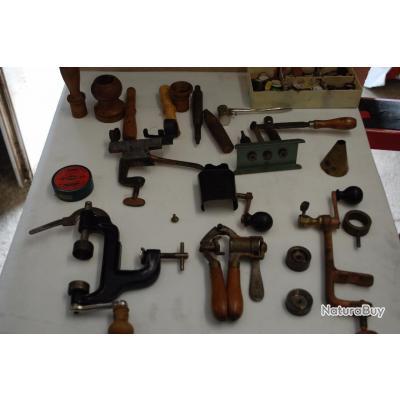 Anciens outils pour cartouches de chasse lot accessoires - Fabrication glue pour chasse ...