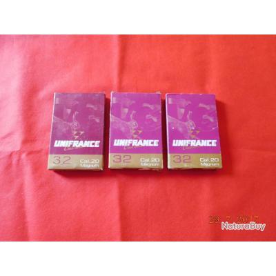 3 boites de 10 Cartouches calibre 20/76 Unifrance, 2 boites plomb N°2 +1 boite  plomb N° 4, lot N°4.