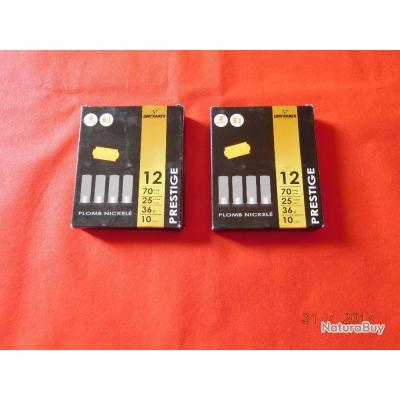 2 boites de 10 Cartouches calibre 12/70 Unifrance, plomb N°4 nickelé, lot N° 41
