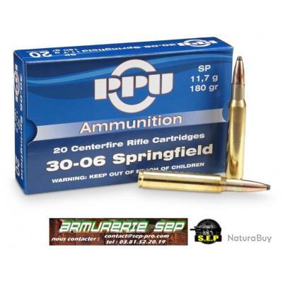 1 boite PPU partizan de 20 cartouches de calibre 30.06, 11,7 grammes, 180 grains, ogives SP