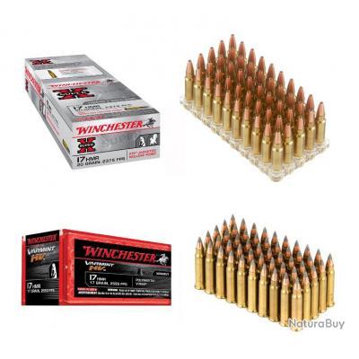 Munitions 17 HMR Winchester / Varmint HV V-MAX / Super X /  Au Choix  Lot de 1000
