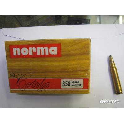 munitions 358 norma magnum  250G SOFT POINT  boite neuve