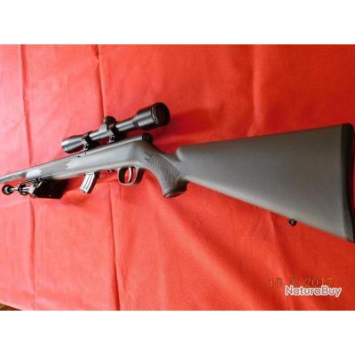 Carabine 22LR d'occasion Savage A répétition manuelle avec chargeur,bi pied, lunette 3-9x40,