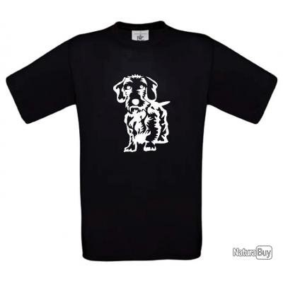 Tee-shirt Blanc, Beige ou Noir avec impression Teckel