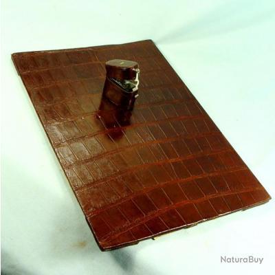 superbe sous main parure de bureau en alligator ou crocodile brun etat parfait peaux. Black Bedroom Furniture Sets. Home Design Ideas