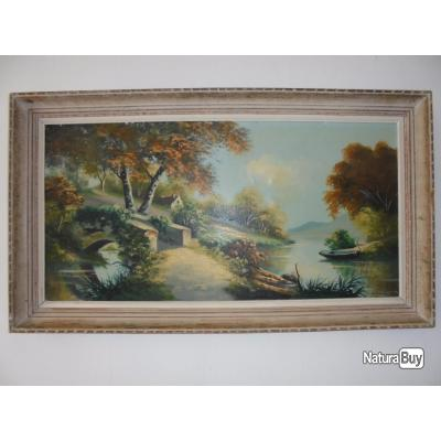 excellent ancien grand tableau peinture huile sur toile sign paysage rivire pont barque with. Black Bedroom Furniture Sets. Home Design Ideas