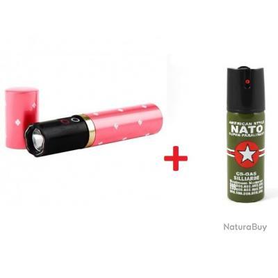 Taser Shocker Défense Tazer Make Up Rouge à Lèvre Discret Rose + 1 Lacrymo 60Ml