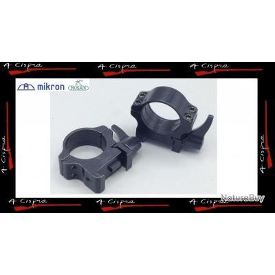 """Colliers Acier amovibles BAS - Diam. 25,4mm/1"""" - Rusan Quick-release  pour rails  weaver & picatinny"""