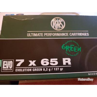Balles calibre 7x65R RWS EVO GREEN SANS PLOMB