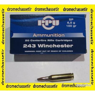 5 boites neuve de 20 cartouches Partizan  de calibre 243 Winchester, 100 grains , SP