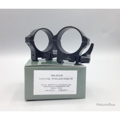 Colliers Acier amovibles MEDIUM - Diam.34mm - Rusan Quick-release pour rails weaver & picatinny