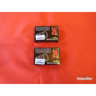 2 boites de 5 Balles calibre12/70 Tunet, 39 grammes de plomb, super Brenneke,