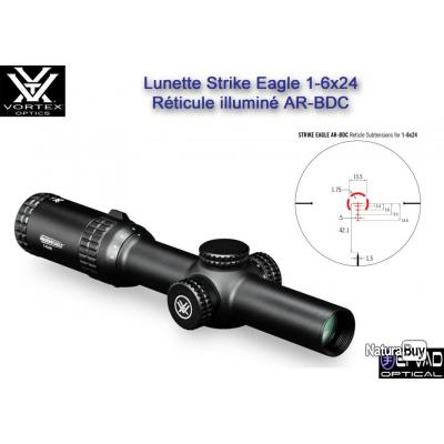 Lunette VORTEX Strike Eagle 1-6x24 - avec colliers UTG Medium QD