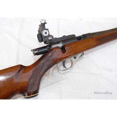 """Très belle et rare carabine UNIQUE .22 lr """"T Dioptra"""", complète avec dioptre, chargeur 5 coups"""