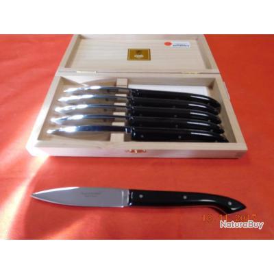 6 couteaux de table manche noir , Claude DOZORME, réf 4613