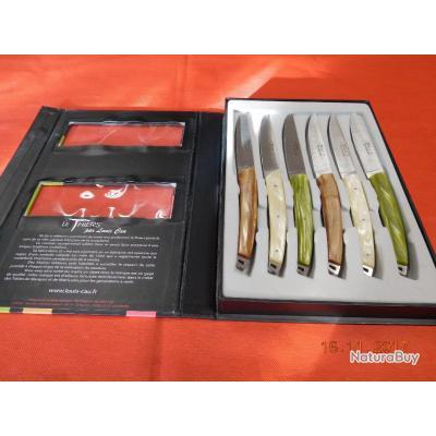 6 couteaux de table manche nacre vive, le Thiers par Louis CAU, réf 4607