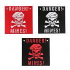 Plaques en plastique : danger mines - couleur noir blanc - 415142