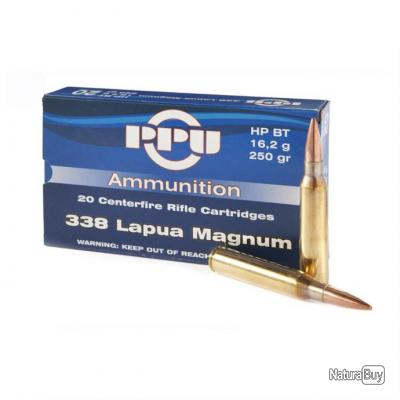 1 boite PPU partizan de 20 balles de calibre 338 LAPUA MAGNUM, 16.2 gr, 250 grs HP BT