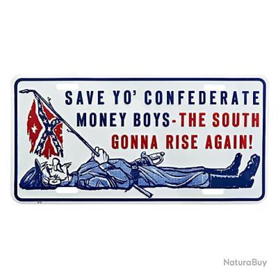 Plaque immatriculation alu : save to confederate   -415141-542  fin de série