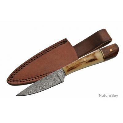 Couteau Damas Skinner Lame 256 Couches Manche Bois & Bois de Cerf Etui Cuir DM1176