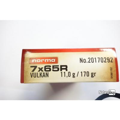 DESTOCKAGE LOT DE 20 MUNITIONS NORMA CAL 7X65R  VULKAN 11GR  170GR
