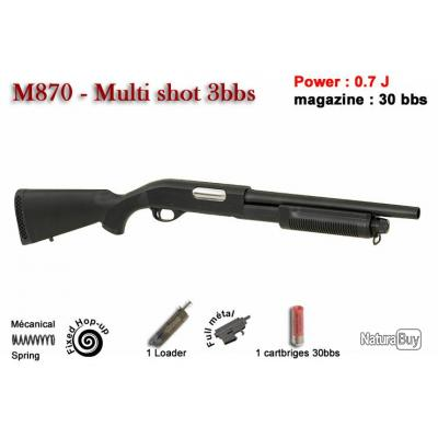 CYMA - Fusil à pompe spring type M870 long full métal - Tri-Shot 6 mm -noir