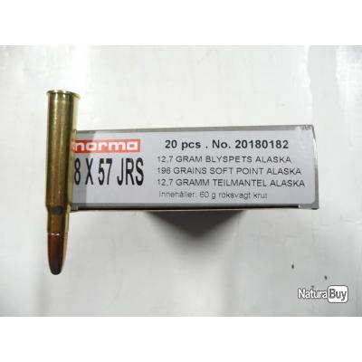 LOT DE 20 Balles NEUVES  calibre 8x57JRS NORMA ALASKA  12;7gr  196GR