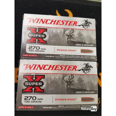 Balles Winchester cal 270 Win  130 grains Power point