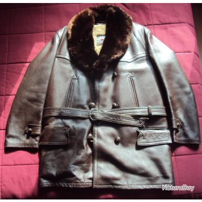 31f301dff Ancienne veste canadienne en cuir doublé mouton pour grand froid