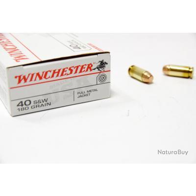 Lot de 200 Munitions Calibre 40 S&W Marque Winchester Ogives FMJ 180grs
