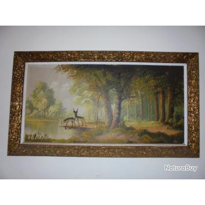 ancien grand tableau peinture huile sur toile superbe moulures for t biche cerf huiles 4676707. Black Bedroom Furniture Sets. Home Design Ideas