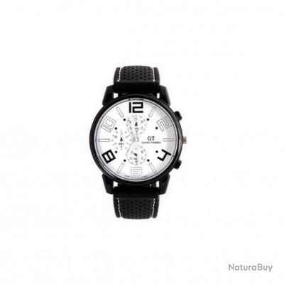 ee152ff82eacf Montre noire Homme noire et blanc Quartz Analogique bracelet Silicone GT  Grand Touring pilote
