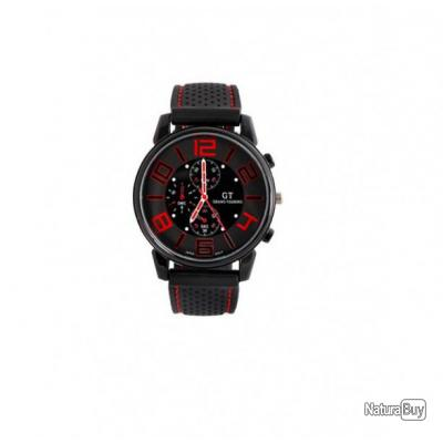 d3ea53654ce9a Montre noire Homme noire et rouge Quartz Analogique bracelet Silicone GT  Grand Touring pilote
