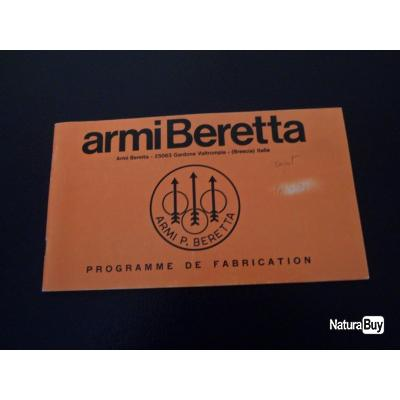 Rare !!!! Ancien catalogue BERETTA Programme de fabrication de 1970 : fusils de chasse, carabine....