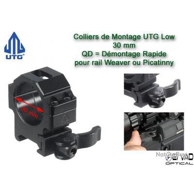 Colliers UTG Low QD pour lunette - 30mm pour rail Weaver (21mm)