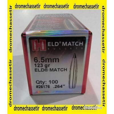 boite de  100 ogives Hornady , cal 6,5mm (264) , 123 grains, type ELD Match , 26176