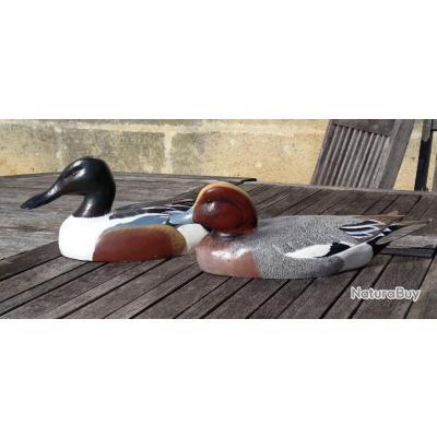 Blette siffleur  et souchet en bois decoy