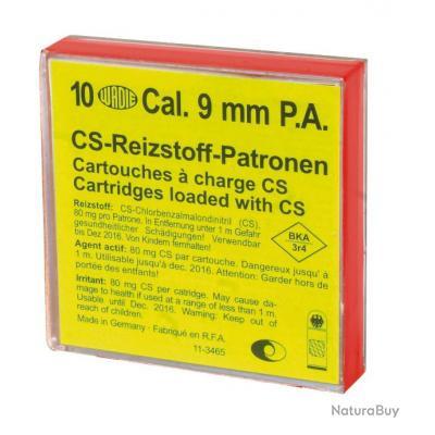 Boîte de 10 cartouches 9 mm PAK gaz CS