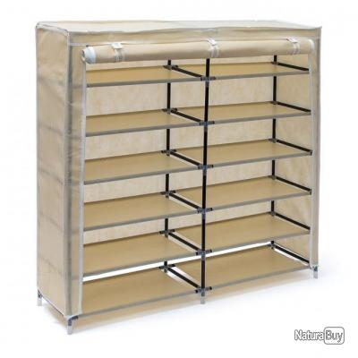 Meuble A Chaussures Armoire Etagere Chambre Camping 36 Paires 114 Cm Beige 2013091