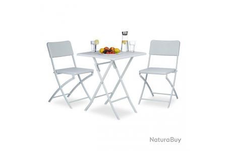 Ensemble table et chaises de jardin en métal terrasse balcon camping blanc  2213017